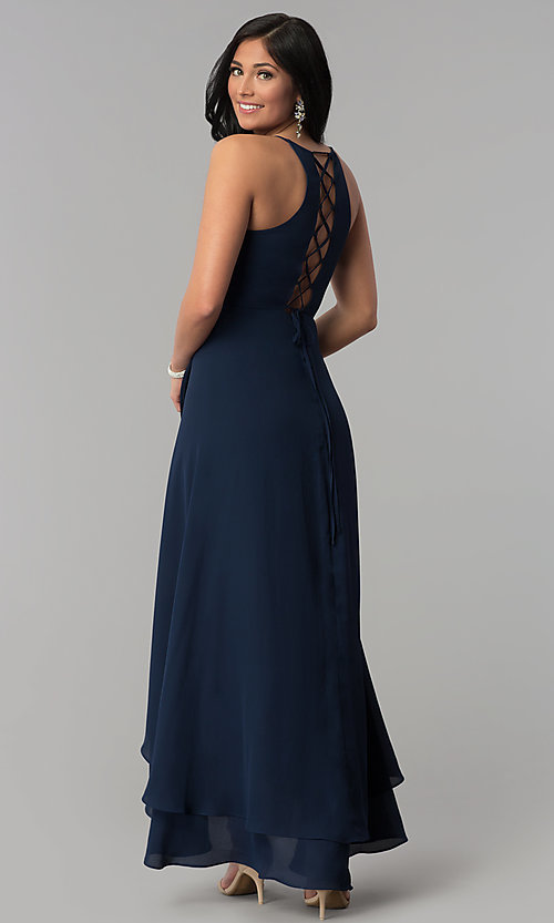 Image of long faux-wrap navy blue prom dress with corset. Style: MT-8455 Back Image