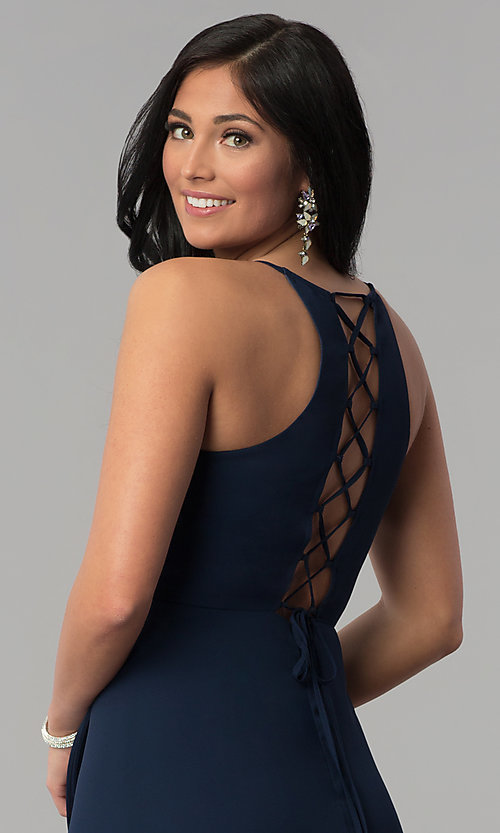 Image of long faux-wrap navy blue prom dress with corset. Style: MT-8455 Detail Image 2