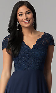 Image of cap-sleeve embroidered-bodice long navy prom dress. Style: MT-8452 Detail Image 1