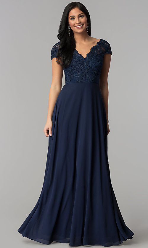 Image of cap-sleeve embroidered-bodice long navy prom dress. Style: MT-8452 Front Image