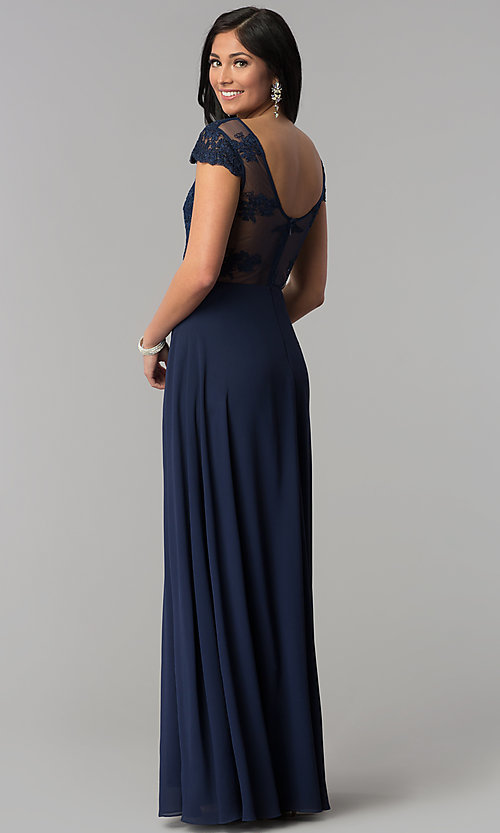 Image of cap-sleeve embroidered-bodice long navy prom dress. Style: MT-8452 Back Image