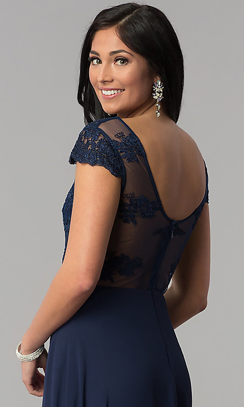 Image of cap-sleeve embroidered-bodice long navy prom dress. Style: MT-8452 Detail Image 2