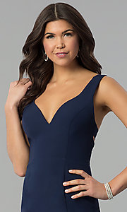 Image of navy blue v-neck long prom dress with caged back. Style: MT-8985 Detail Image 1