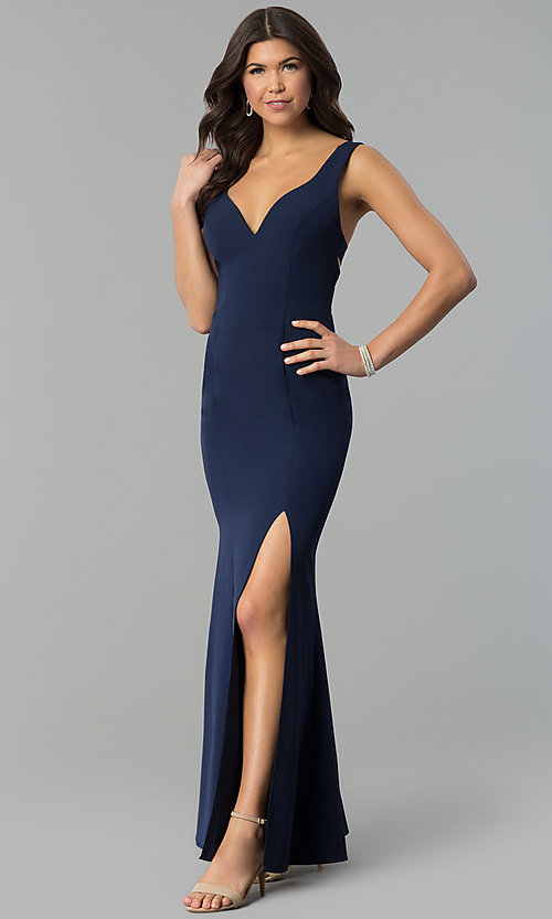 Image of navy blue v-neck long prom dress with caged back. Style: MT-8985 Front Image