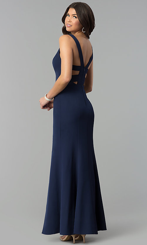 Image of navy blue v-neck long prom dress with caged back. Style: MT-8985 Back Image