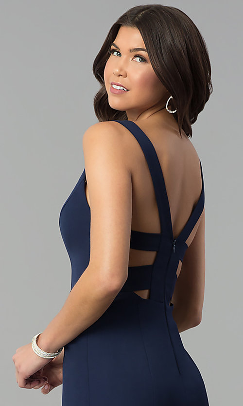Image of navy blue v-neck long prom dress with caged back. Style: MT-8985 Detail Image 2