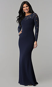Image of long open-back navy prom dress with lace sleeves. Style: MT-9147 Back Image