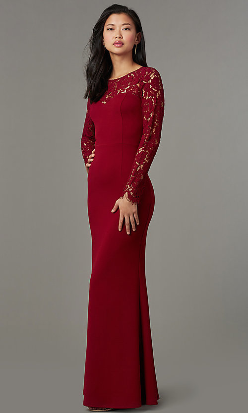 Image of long open-back navy prom dress with lace sleeves. Style: MT-9147 Detail Image 3