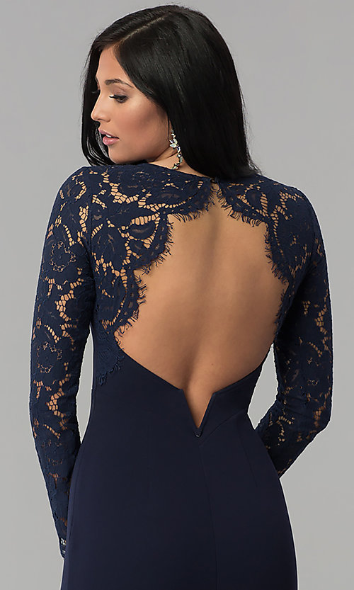 Image of long open-back navy prom dress with lace sleeves. Style: MT-9147 Detail Image 2