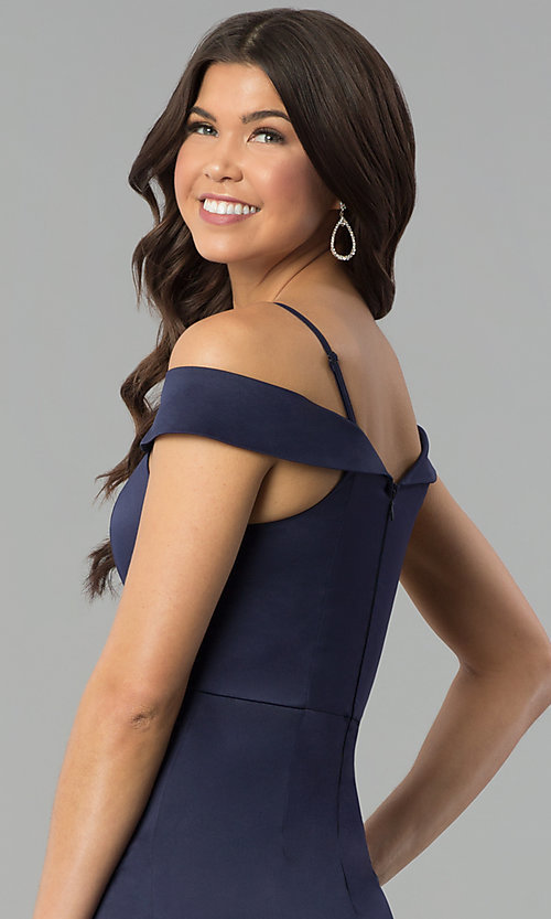 Image of satin long prom dress with off-the-shoulder neckline. Style: MT-8961 Detail Image 2