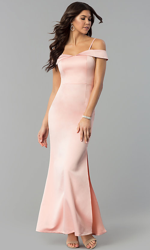 Image of satin long prom dress with off-the-shoulder neckline. Style: MT-8961 Detail Image 3