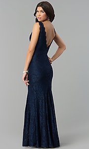 Image of mermaid v-neck long lace prom dress with open back. Style: MT-9159 Back Image