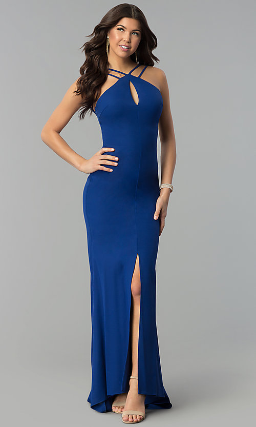 Image of long royal blue prom dress with keyhole neckline. Style: MT-9020 Front Image