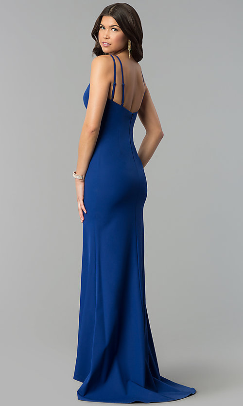 Image of long royal blue prom dress with keyhole neckline. Style: MT-9020 Back Image