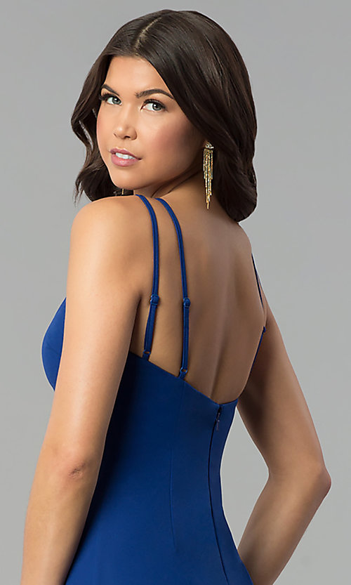Image of long royal blue prom dress with keyhole neckline. Style: MT-9020 Detail Image 2