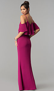 Image of long mermaid v-neck cold-shoulder prom dress. Style: MT-9150 Front Image