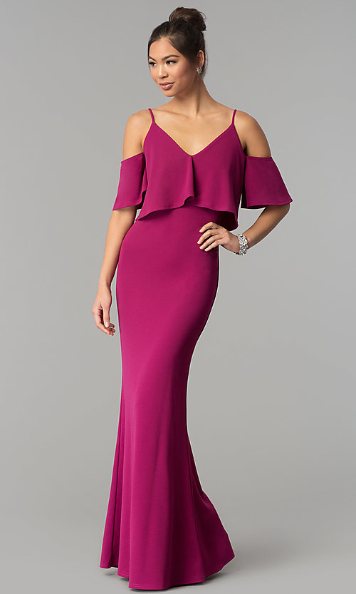 Image of long mermaid v-neck cold-shoulder prom dress. Style: MT-9150 Back Image