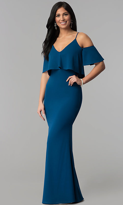 Image of long mermaid v-neck cold-shoulder prom dress. Style: MT-9150 Detail Image 3