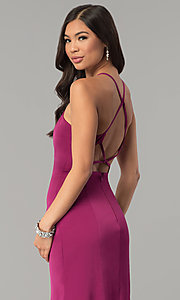 Image of long open-back jersey prom dress.  Style: MT-9003 Detail Image 1