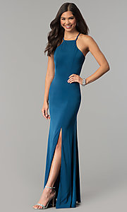 Image of long open-back jersey prom dress.  Style: MT-9003 Back Image