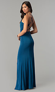 Image of long open-back jersey prom dress.  Style: MT-9003 Front Image