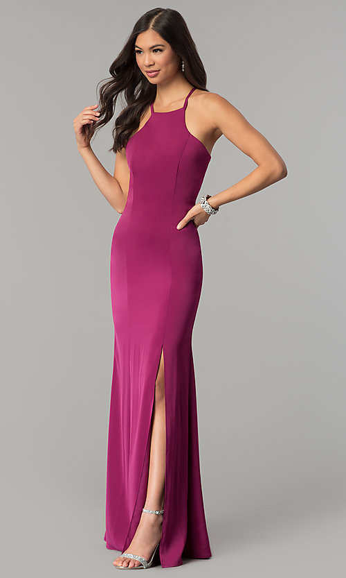 Image of long open-back jersey prom dress.  Style: MT-9003 Detail Image 2