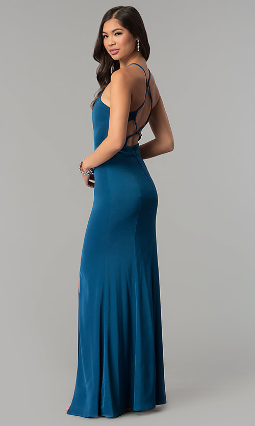 Image of long open-back jersey prom dress.  Style: MT-9003 Detail Image 3