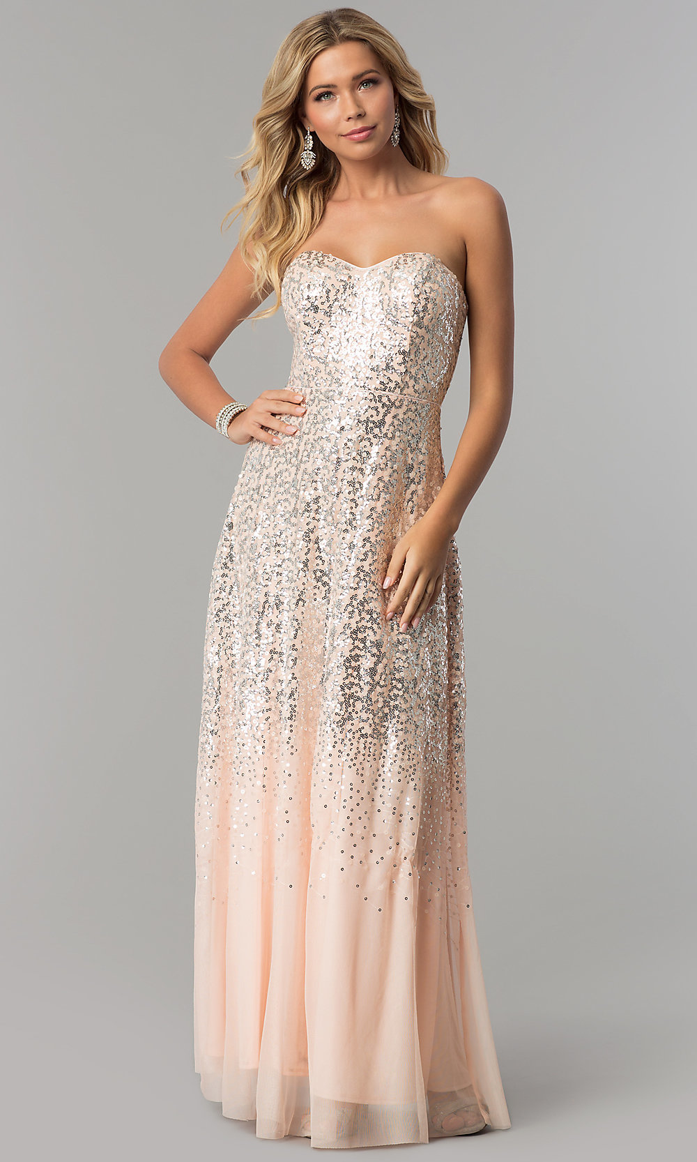 Strapless Sequin Prom Dress in Blush Pink - PromGirl