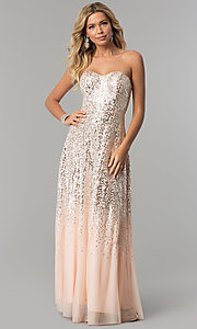 Long Strapless Blush Pink Prom Dress with Sequins