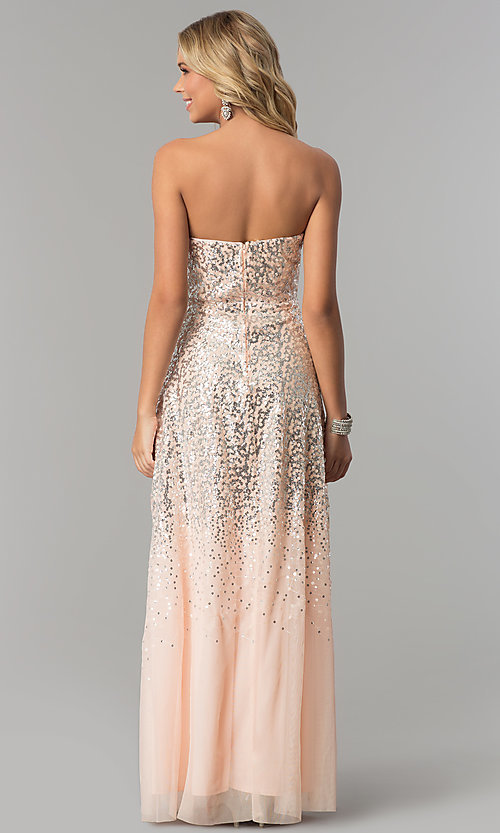 image of long strapless blush pink prom dress with sequins. Style: FLA-167355 Back Image