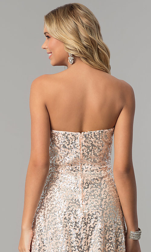 image of long strapless blush pink prom dress with sequins. Style: FLA-167355 Detail Image 2