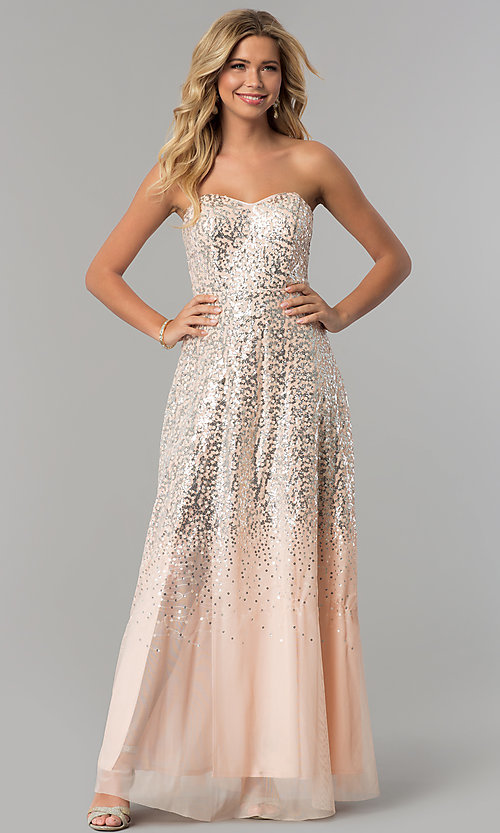 image of long strapless blush pink prom dress with sequins. Style: FLA-167355 Detail Image 3
