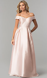 Image of long off-the-shoulder blush pink satin prom dress. Style: FLA-139395 Front Image