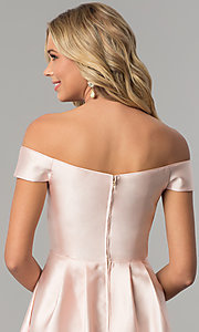 Image of long off-the-shoulder blush pink satin prom dress. Style: FLA-139395 Detail Image 2