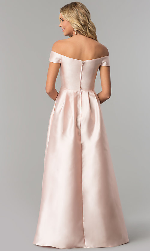Image of long off-the-shoulder blush pink satin prom dress. Style: FLA-139395 Back Image