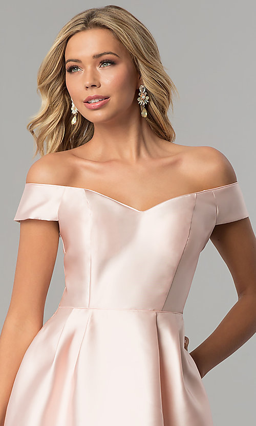 Image of long off-the-shoulder blush pink satin prom dress. Style: FLA-139395 Detail Image 1