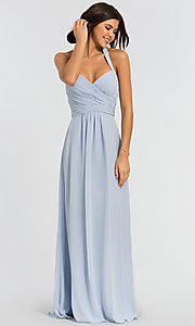 Image of long halter sweetheart bridesmaid dress. Style: KL-200004 Front Image