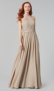Image of pleated halter bodice long bridesmaid dress. Style: KL-200006 Detail Image 2
