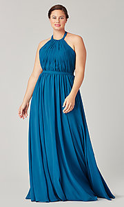 Image of pleated halter bodice long bridesmaid dress. Style: KL-200006 Detail Image 5
