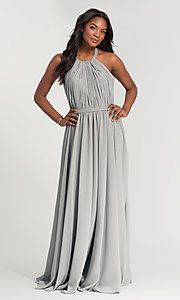 Image of pleated halter bodice long bridesmaid dress. Style: KL-200006 Detail Image 1