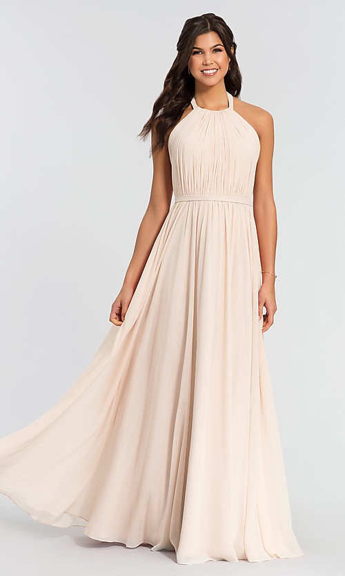 Image of pleated halter bodice long bridesmaid dress. Style: KL-200006 Front Image