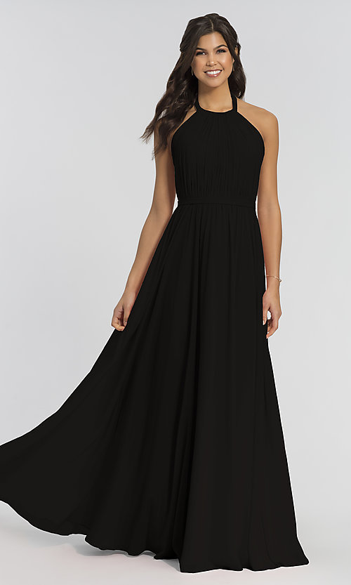 Image of pleated halter bodice long bridesmaid dress. Style: KL-200006 Detail Image 4