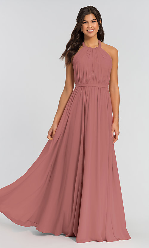 Image of pleated halter bodice long bridesmaid dress. Style: KL-200006 Detail Image 6
