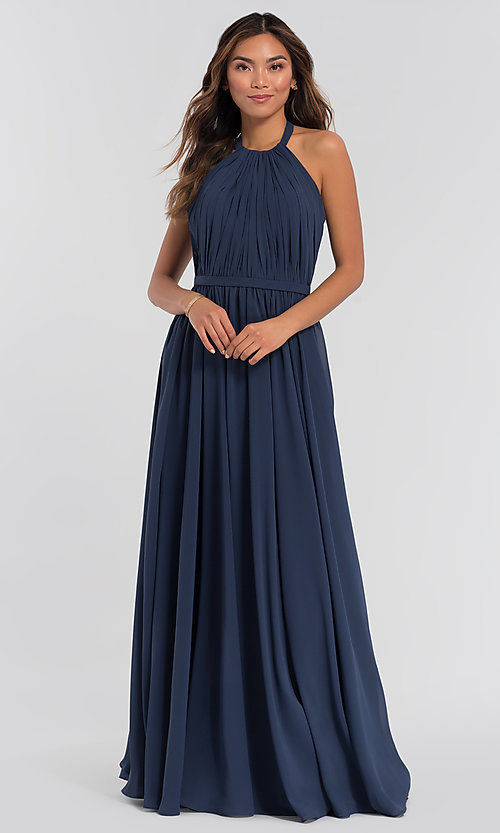 Image of pleated halter bodice long bridesmaid dress. Style: KL-200006 Detail Image 3