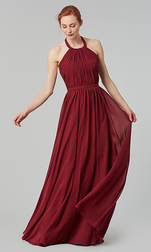 Image of pleated halter bodice long bridesmaid dress. Style: KL-200006 Detail Image 7
