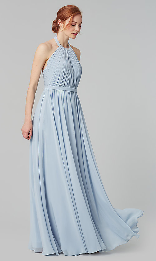 Image of pleated halter bodice long bridesmaid dress. Style: KL-200006 Detail Image 8