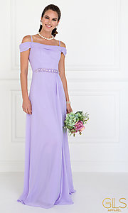 Image of long off-shoulder chiffon prom dress with cowl back. Style: FB-GL1522 Detail Image 4
