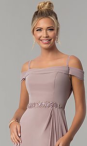 Image of long off-shoulder chiffon prom dress with cowl back. Style: FB-GL1522 Detail Image 1