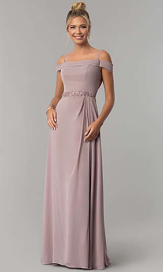 Long Off-Shoulder Chiffon Prom Dress with Cowl Back
