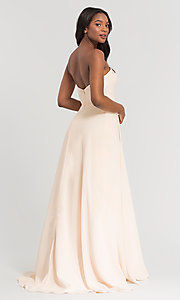 Image of long sweetheart bridesmaid dress with added straps. Style: KL-200009 Back Image